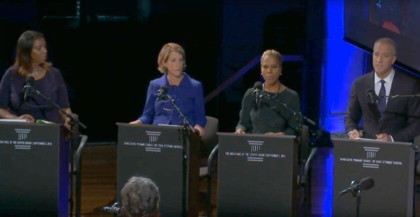 (L-R) Public Advocate Letitia James, Zephyr Teachout, Leecia Eve and Rep. Sean Patrick Maloney participate in a Democratic Primary debate for New York State Attorney General at Cooper Union on September 6, 2018.