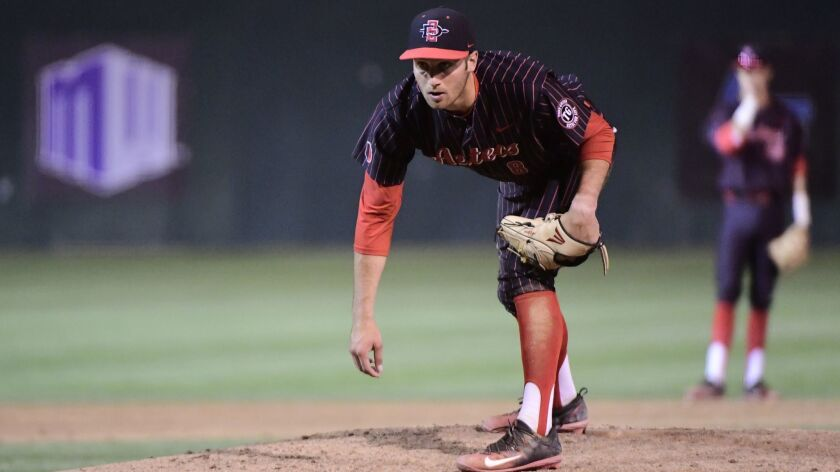 San Diego State's Casey Schmitt pitches for the Aztecs in May during a Mountain West Tournament game against UNLV.