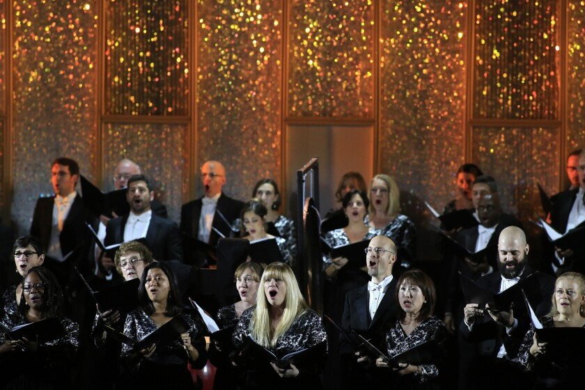 The Los Angeles Master Chorale performs for the Music Center's 50th Anniversary Spectacular at the Dorothy Chandler Pavilion in December 2014.