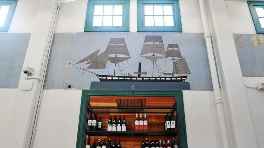 While you enjoy a brew at the mess hall, be sure to look up and admire the original naval murals.