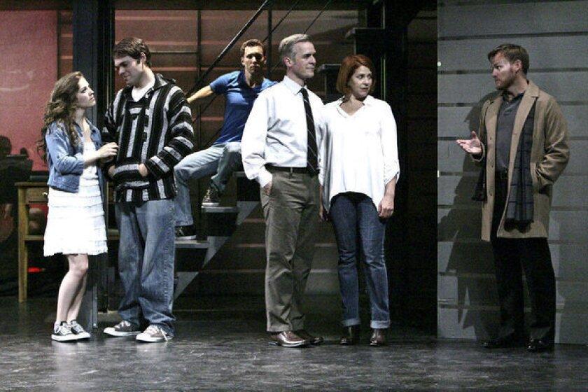 "Tessa Grady, left, Alex Mendoza, Eddie Egan, Robert Townsend, Bets Malone and Keith Bearden star in the La Mirada Theatre production of ""Next to Normal."""
