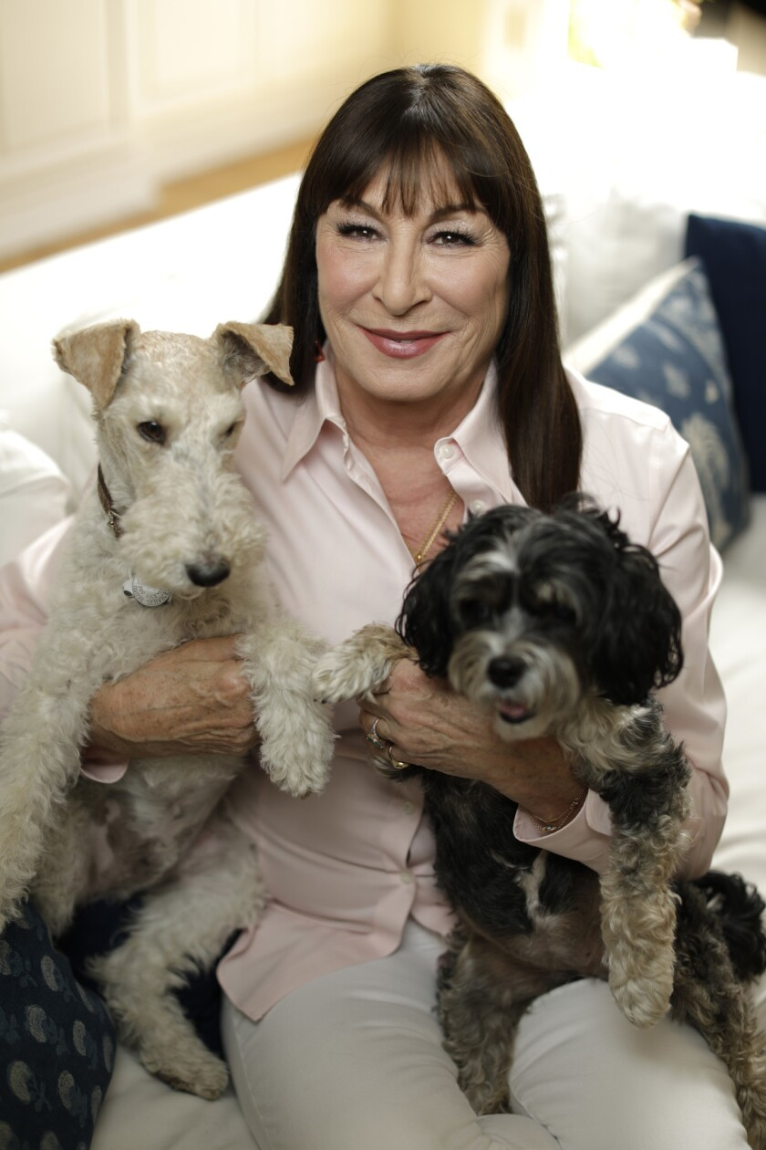 PACIFIC PALISADES, CA -- APRIL 17, 2019: Anjelica Huston at home with her dogs, Oscar, left, and Poo