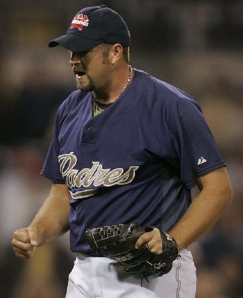 Heath Bell, 31, has been successful as a set-up man, but has never been a full-time closer before.<br> <em>Charlie Neuman / San Diego Union-Tribune</em>