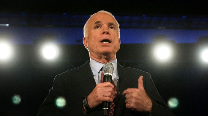GOP presidential candidate Sen. John McCain answers questions during a campaign stop in Florida in June 2008.