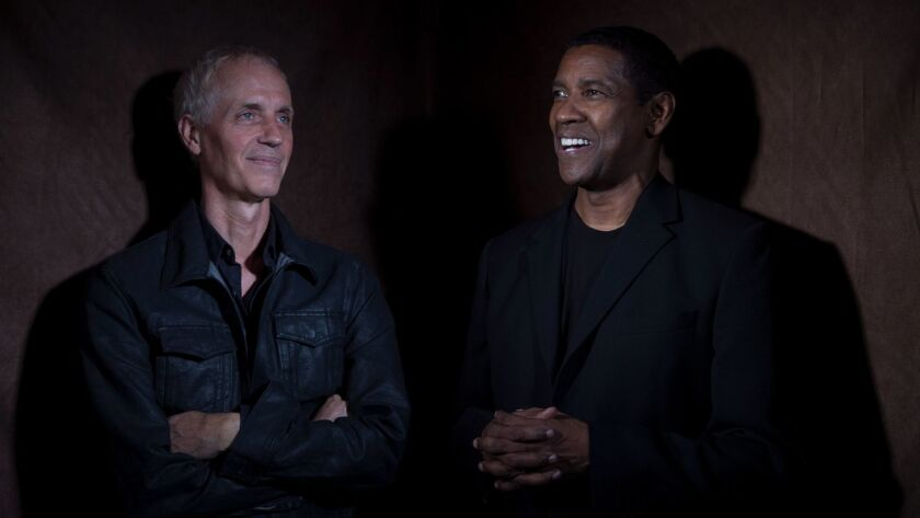 """Director Dan Gilroy and Denzel Washington, at the Beverly Wilshire Hotel, collaborated on the film """"Roman J. Israel, Esq."""""""