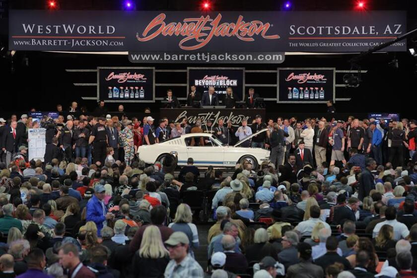 General view of Arizona Auto Week, one of the largest US automotive fairs and auctions, which includes vehicles that belonged to the rich and famous, and which starts this Saturday in Scottsdale, Arizona. EFE-EPA/Barrett-Jackson Auctions