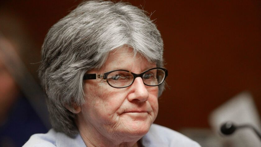 Former Manson family member and convicted murderer Patricia Krenwinkel at a parole hearing in 2011.