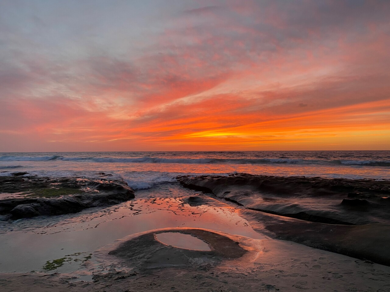 La Jolla's tide pools provide the vantage point for this sunset view.