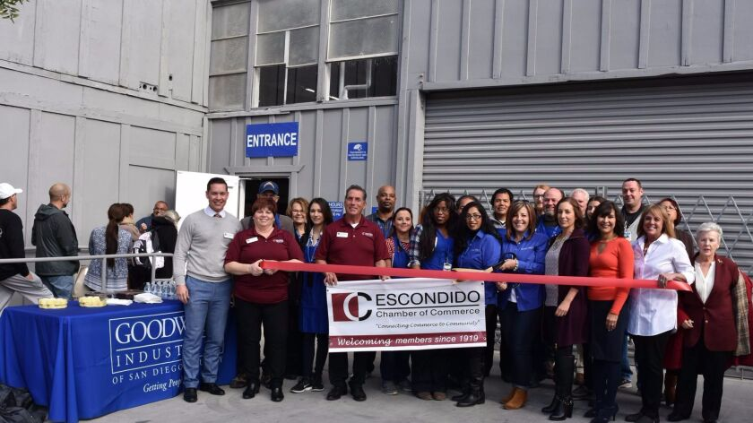Goodwill opened a 30,000 square-foot Clearance Center in January at 1996 Don Lee Place in Escondido. Goodwill's Escondido Employment Center is at 329 W. Grand. Ave.