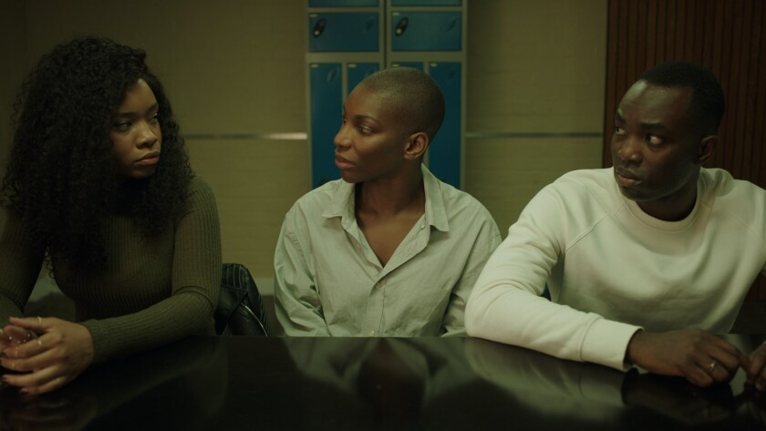 "Weruche Opia, Michaela Coel and Paapa Essiedu in a scene from ""I May Destroy You."""
