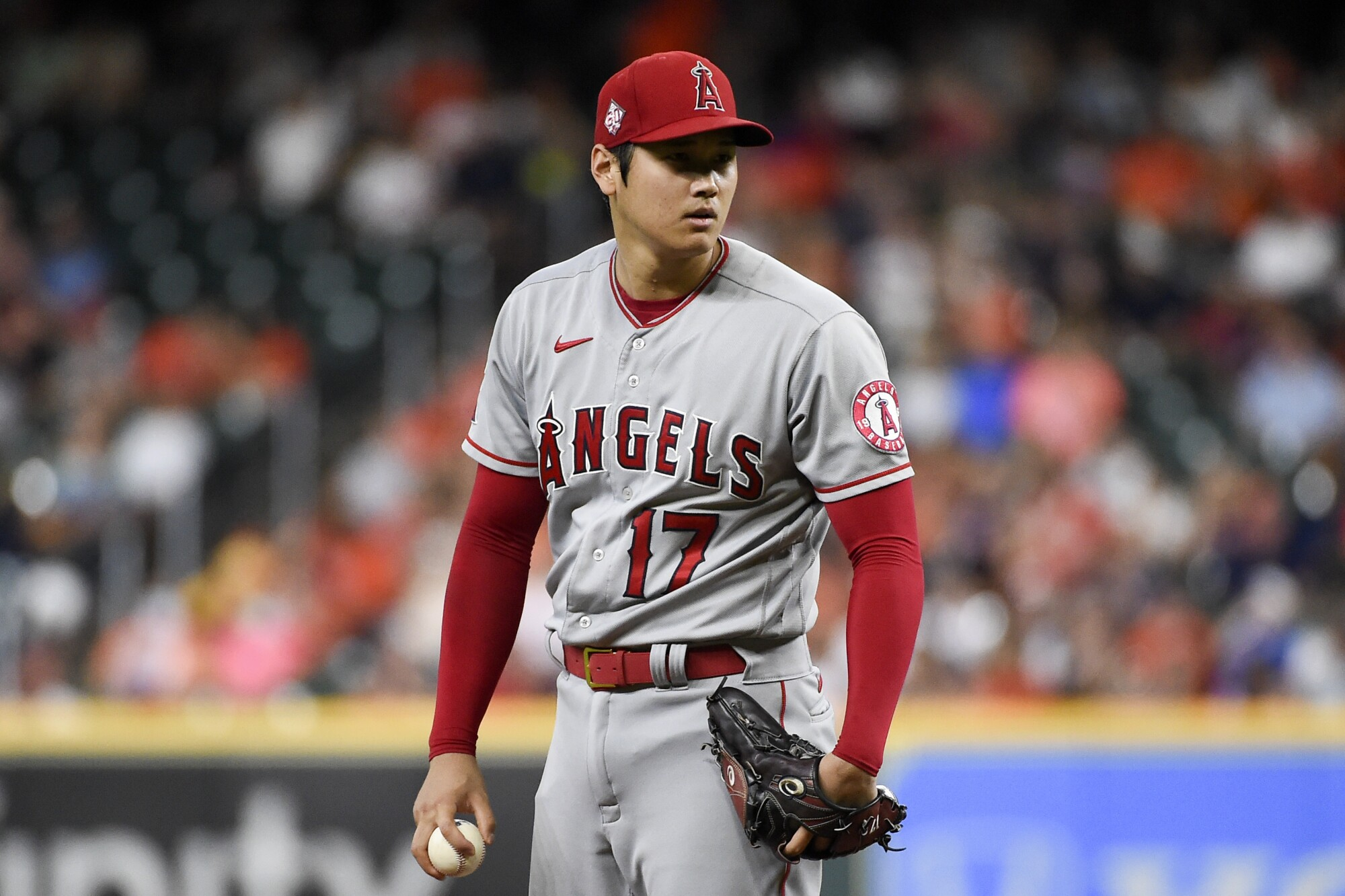Shohei Ohtani will not pitch on Friday as expected after experiencing arm soreness. (AP Photo/Eric Christian Smith)