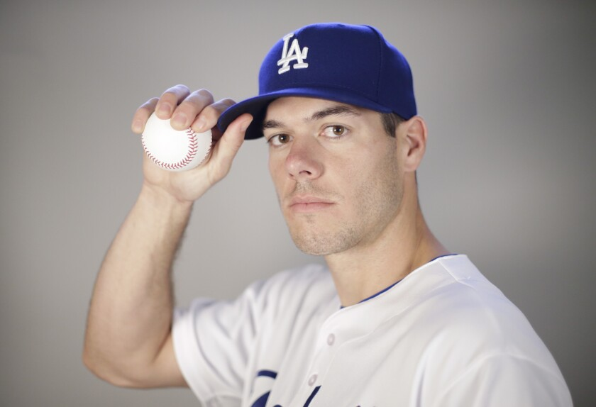 Dodgers pitcher Josh Ravin poses during the team's photo day during spring training.