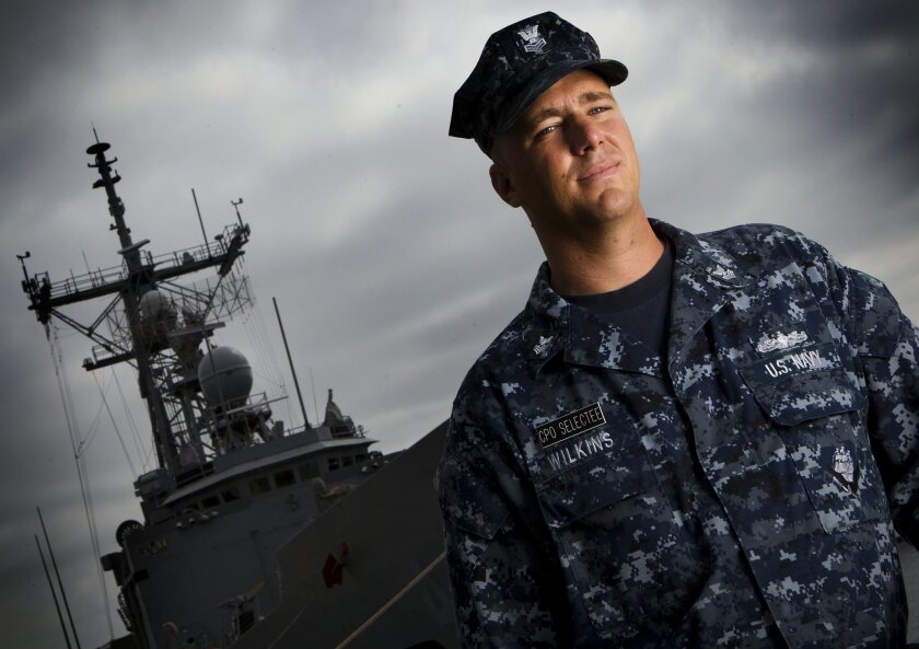 Navy Chief Petty Officer Erik Wilkins, a crew member on the USS Vandergrift, at Naval Base San Diego.