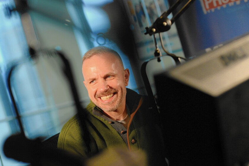 Author, radio personality, journalist and advocate Michelangelo Signorile at Sirius XM Studios, where he does his radio show, in Manhattan, NY.