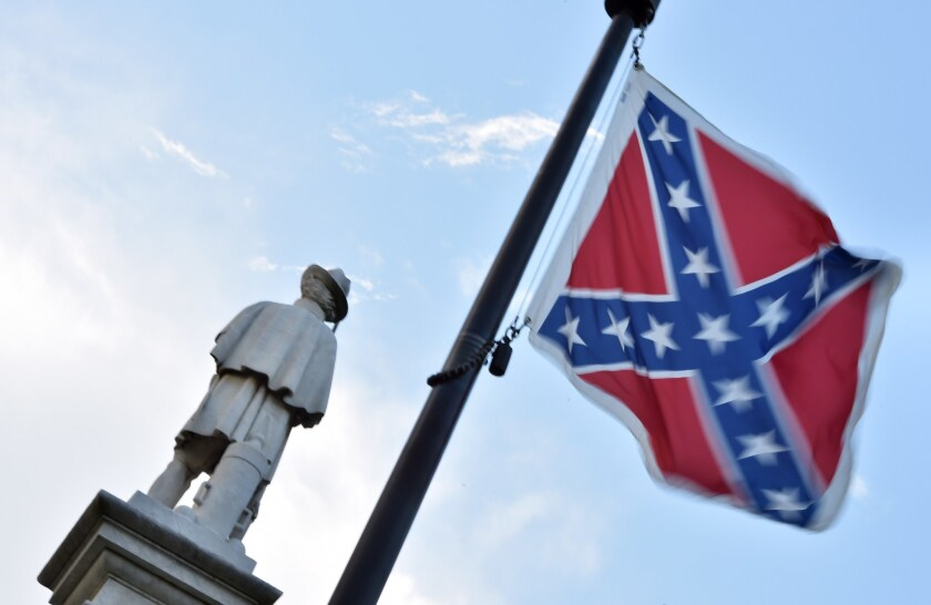 The Confederate flag flies near the South Carolina Statehouse in Columbia.