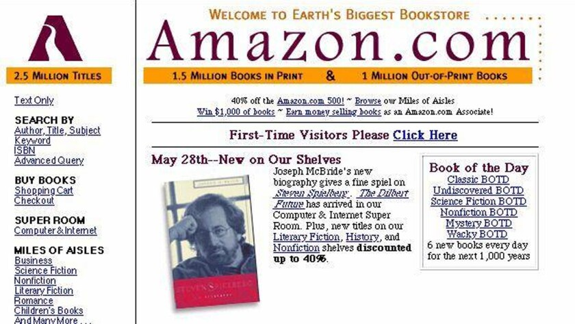 A screenshot of Amazon's website in 1997.