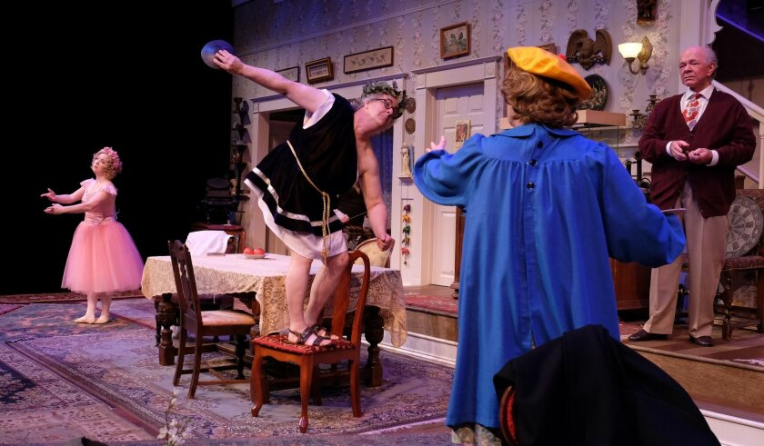 """Lauren King Thompson, Danny Campbell, Deborah Gilmour Smyth and Jim Chovick (left to right) in """"You Can't Take It With You"""" at Lamb's Players Theatre."""