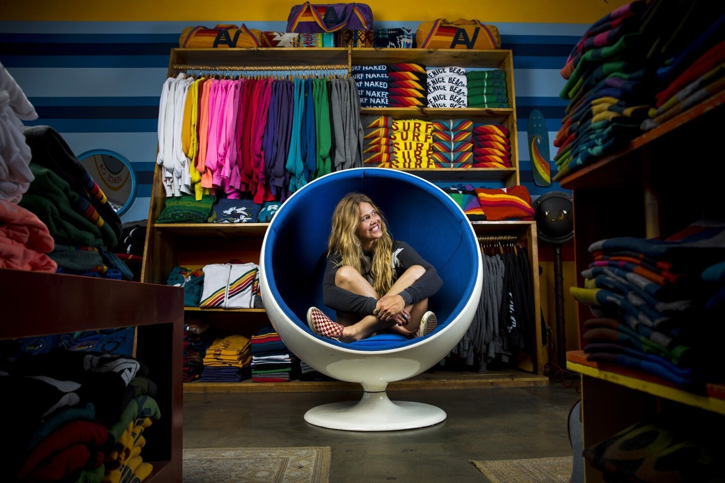 Paige Mycoskie, designer and founder of Venice-based Aviator Nation clothing line, is photographed inside her flagship store on Abbott Kinney in Venice.