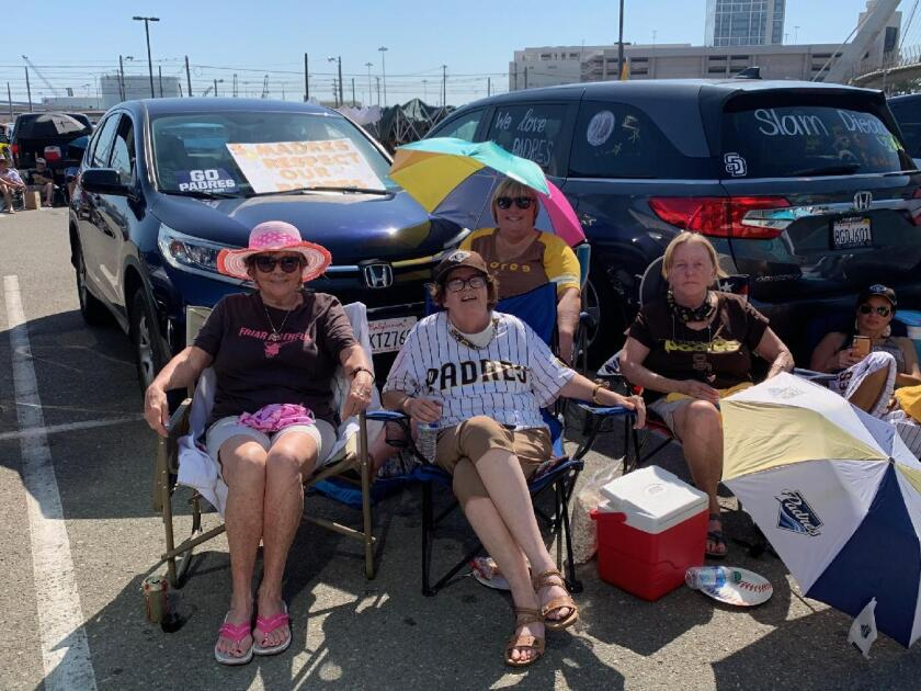 Left to right Judy McGuire, Susie Butcher, Kandi Nieto, and Debra Bralla in the parking lot of Petco park last fall 2020.