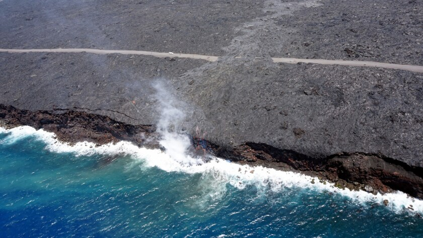 For the first time since 2013, lava from the Pua Po'o tube began emptying into the Pacific Ocean on Tuesday morning. The spectacular sight can be viewed from both land and air.