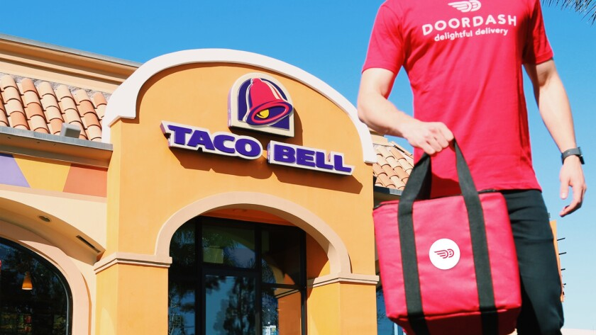 Taco Bell is offering delivery through the DoorDash service.