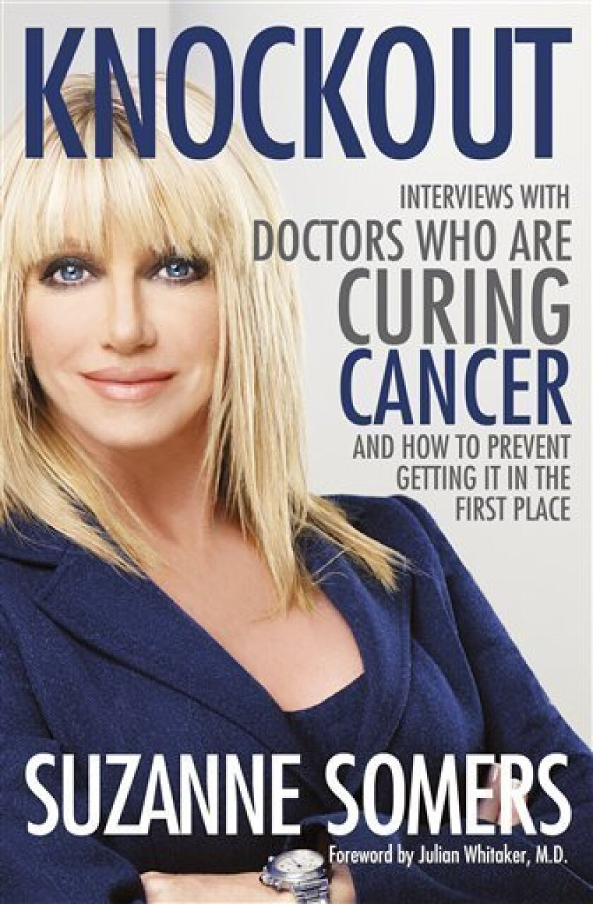 """File photo: The book cover for actress and self-help author Suzanne Somers' 2009 book """"Knockout."""" Somers' line of beauty and fitness products is sold through the Chula Vista company Youngevity. (AP Photo/Crown)"""