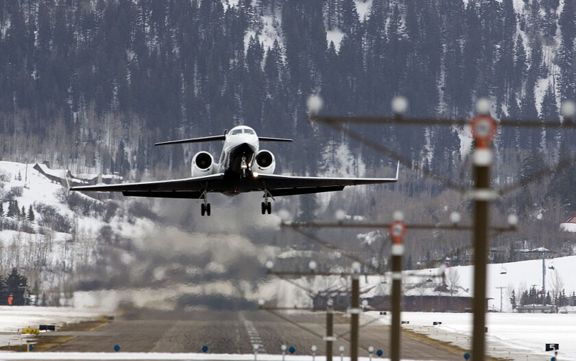 ** ADVANCE FOR MONDAY, APRIL 16 **A Gulfstream takes off from Aspen's Sardy Field, in this photo tak
