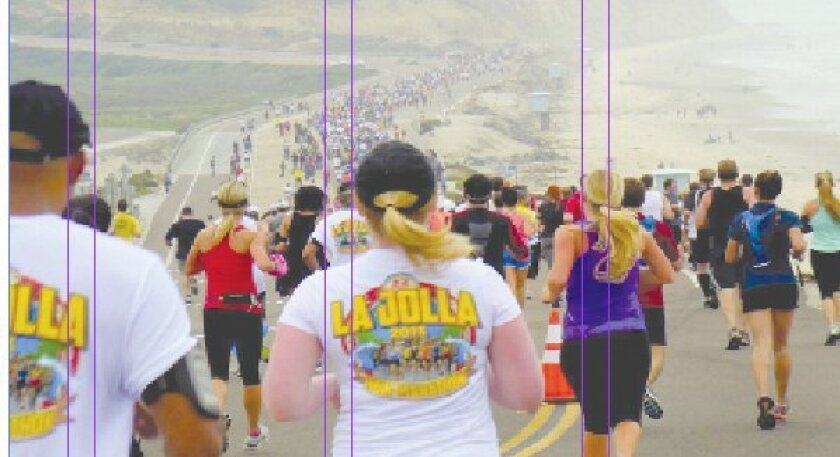 housands of runners follow the La Jolla Half Marathon course in 2013. It leads off from Del Mar Fairgrounds down Coast Boulevard through North Torrey Pines Park Road, North Torrey Pines Road and finishes at La Jolla Cove. File
