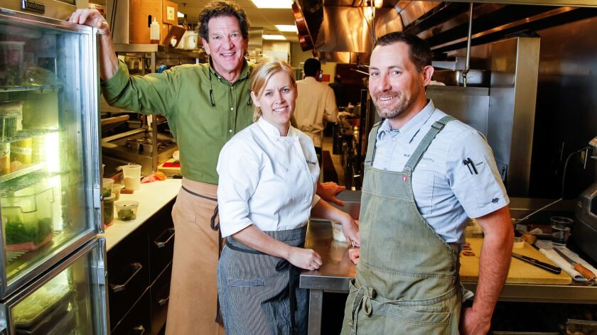 SAN DIEGO, CA May 4th 2018 | Chefs (from left) Jeff Jackson, Kelli Crosson, and Tim Kolanko pose in