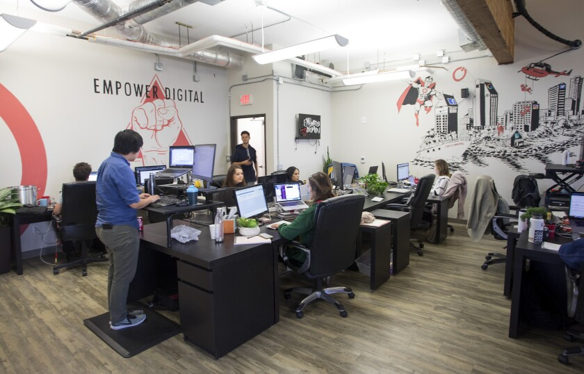Power Digital Marketing, a marketing agency with an office in Old Town, embraces casual dress and flexible work times.