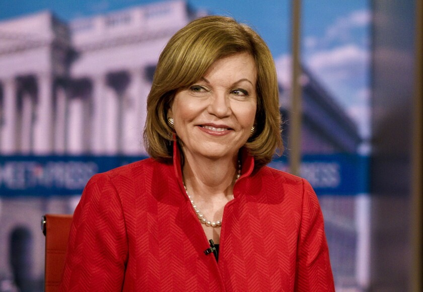 "Susan Page, the Washington bureau chief for USA Today, appears on ""Meet the Press"" in 2019."