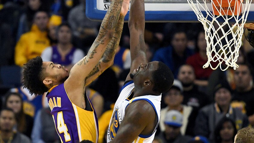 Among the matchups Lakers rookie forward Brandon Ingram faced Wednesday night in Oakland was battling Warriors forward Draymond Green on the boards.