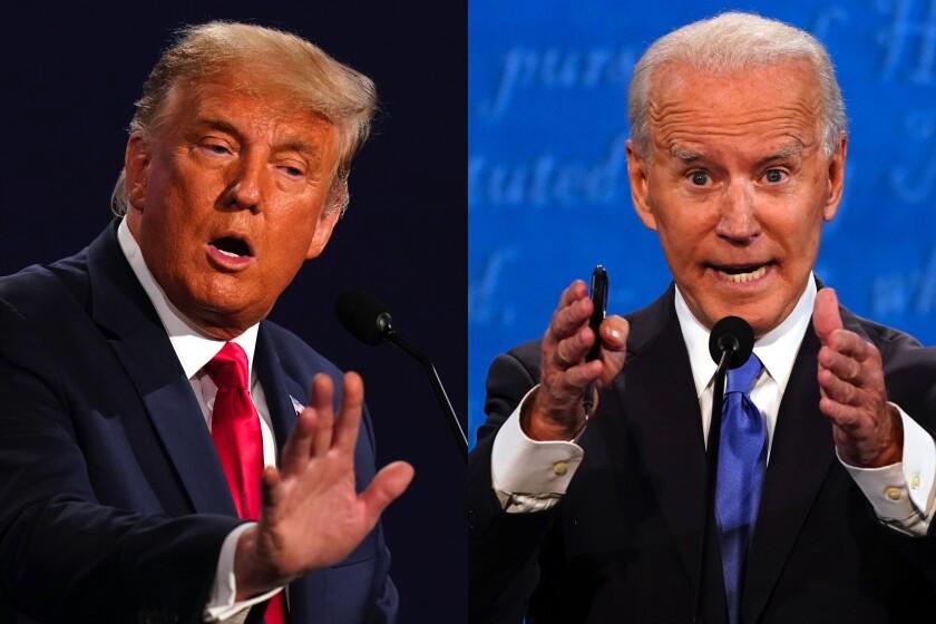 Diptych shows President Trump and Joe Biden gesturing as they speak on debate stage