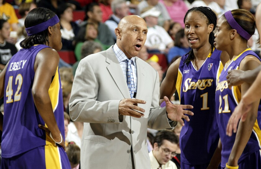 Henry Bibby coaching the WNBA's Los Angeles Sparks in 2005.