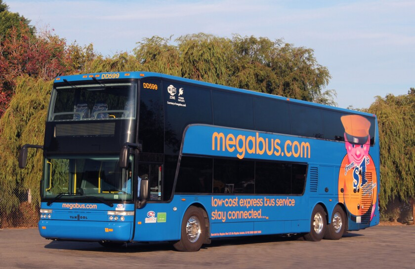 Megabus uses double-decker buses that seat 81 passengers. It will begin offering service from Anaheim to the Bay Area.