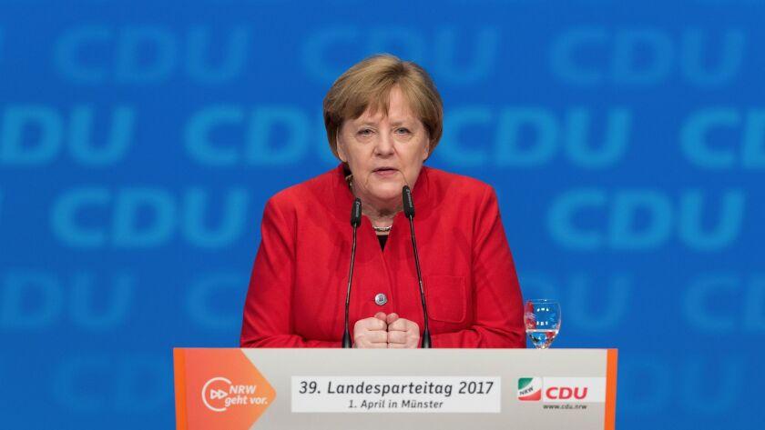 German chancellor and head of the German Christian Democrats, CDU, Angela Merkel, speaks in North Rhine-Westphalia, in Muenster, Germany on April 1.