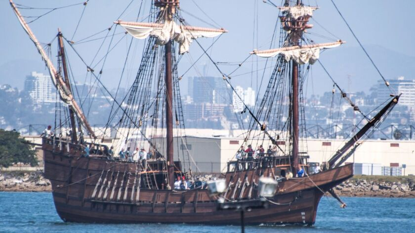 A replica, built by the Maritime Museum of San Diego, of Juan Rodriguez Cabrillo's San Salvador galleon.