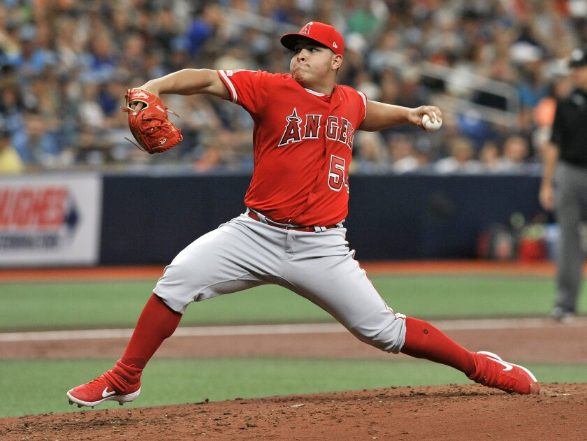 Angels starter Jose Suarez pitches against the Tampa Bay Rays on June 15.