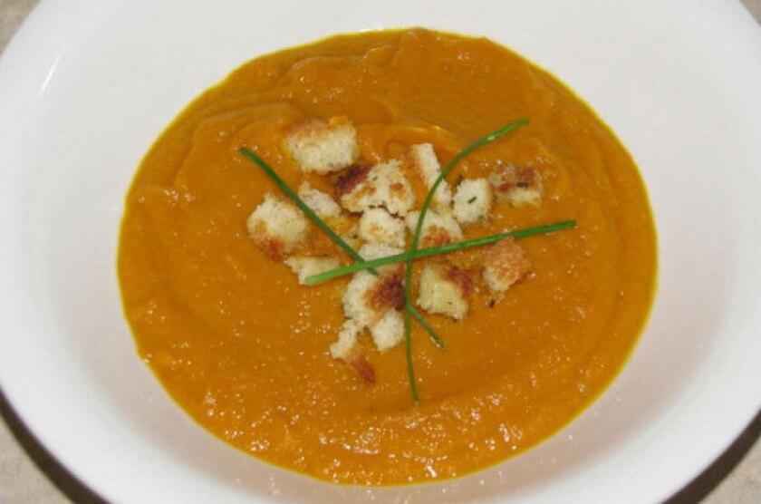 Pumpkin, carrot, and apple soup