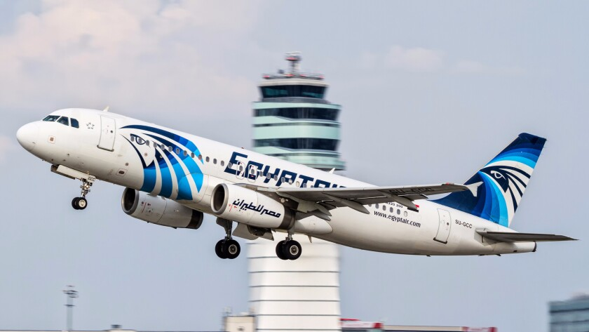 An EgyptAir Airbus A320 takes off from Vienna International Airport in August. The cockpit voice recorder of the EgyptAir plane that crashed last month killing all 66 people on board has been found and pulled out of the Mediterranean Sea.