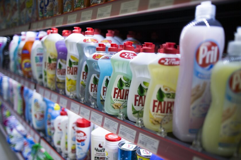 Foreign-branded detergents are seen on the shelves of a hardware store in Moscow, Russia, Tuesday, Aug. 25, 2015. Russian authorities have begun to remove foreign brands of detergent and washing powder from stores, claiming that they pose health risks. The Consumer Protection Agency said in a statement on Tuesday that recent inspections of selected goods by top foreign brands such as Colgate-Palmolive and Procter & Gamble have found high levels of toxic ingredients. (AP Photo/Alexander Zemlianichenko)