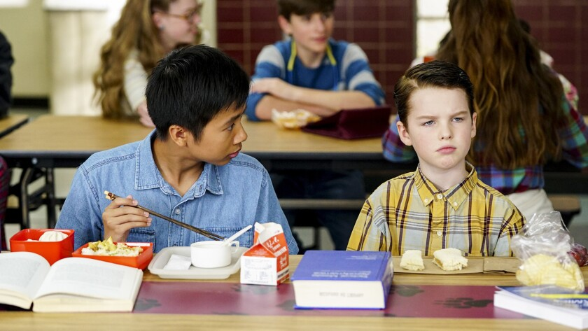 """Ryan Phuong, left, and Iain Armitage in """"Young Sheldon"""" on CBS."""