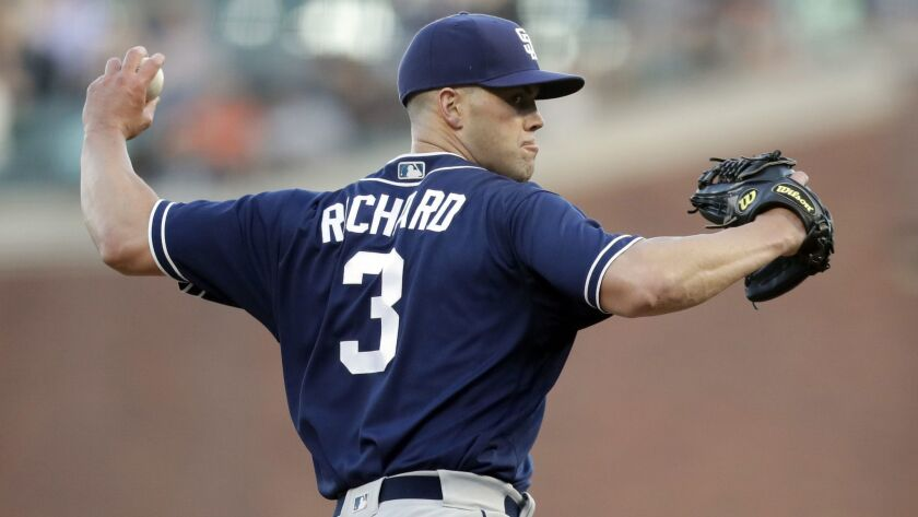 Clayton Richard pitches against the Giants on Friday.