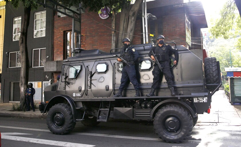 A police vehicle at the site of an attack against the Mexico City police chief  June 26.
