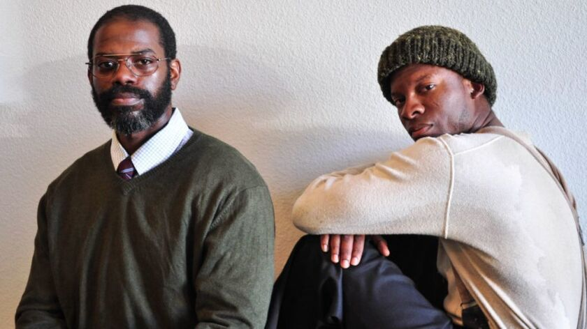 "Vimel Sephus (left) and Cortez L. Johnson star in Moxie Theatre's ""Blue Door."""