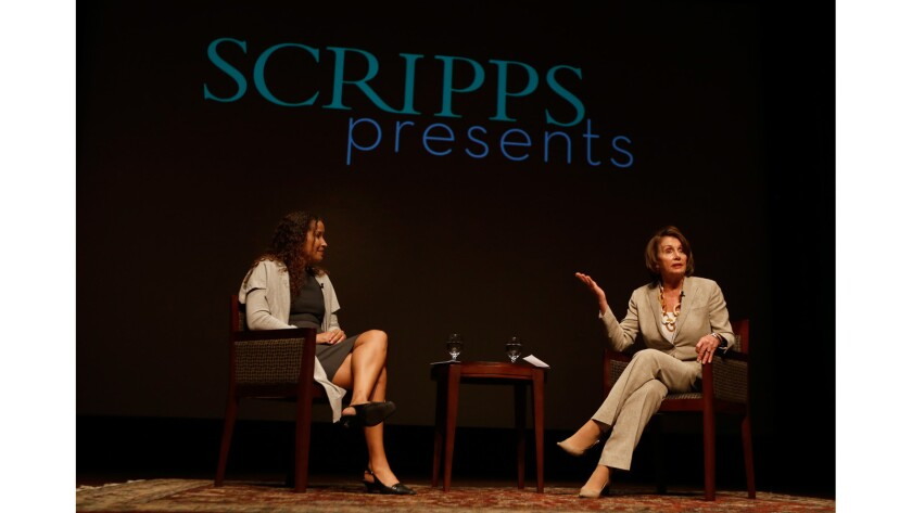 House Minority Leader Nancy Pelosi speaks to students at Scripps College on Thursday.