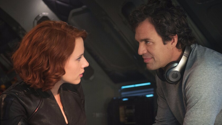 "Scarlett Johansson as Black Widow and Mark Ruffalo as Bruce Banner/Hulk in ""Avengers: Age of Ultron."""