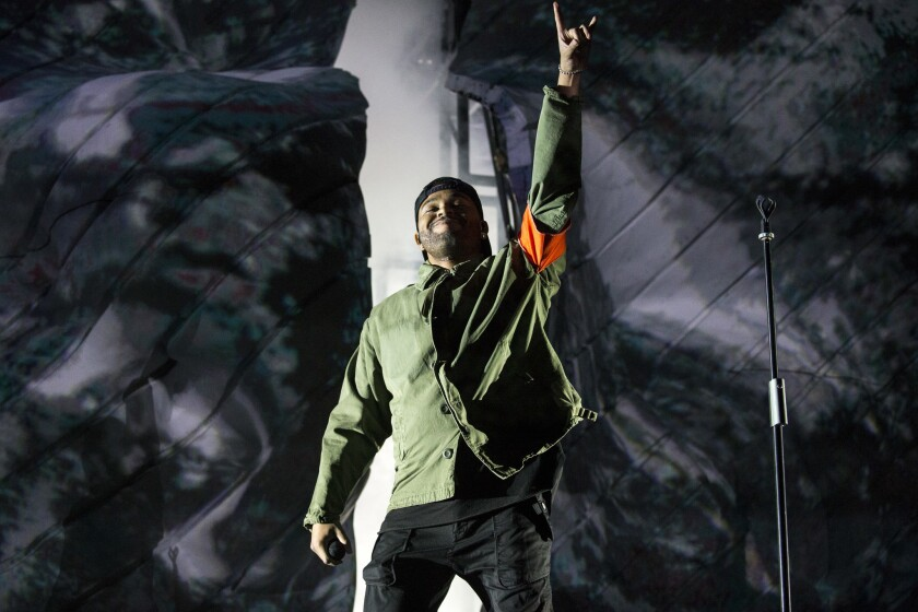 The Weekndperforms in 2018 at theCoachella Valley Music and Arts Festival in Indio.