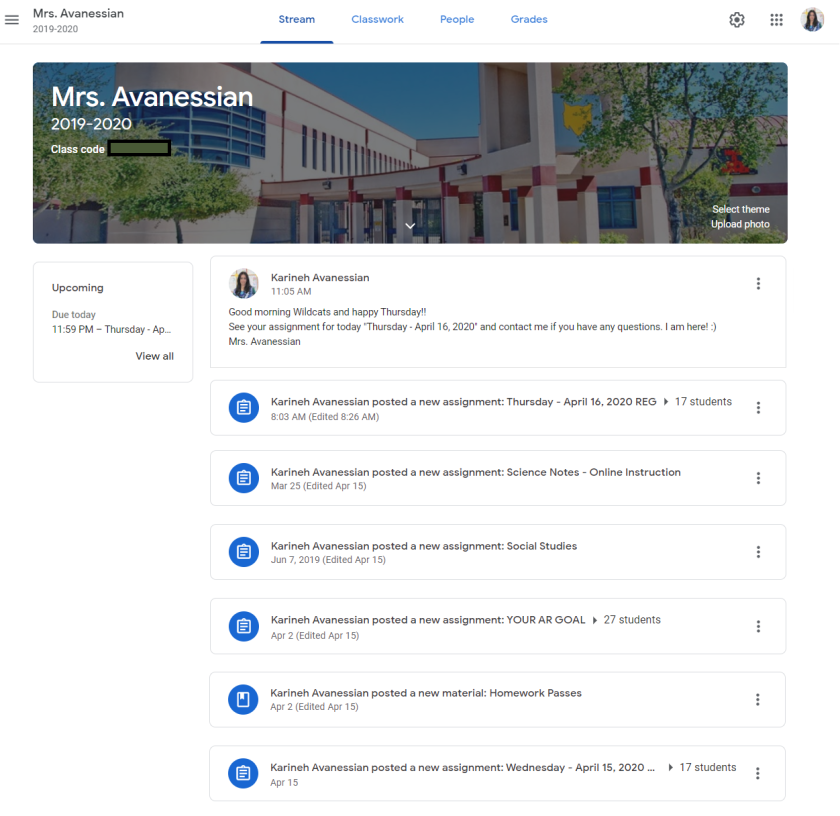 A screenshot of Karineh Avanessian's Google Classroom main page. Students log in daily to see the assignment for the day and grades for past assignments.