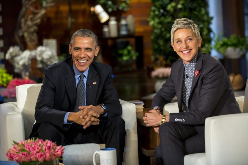 President Obama and Ellen DeGeneres during a commercial break on her TV show.